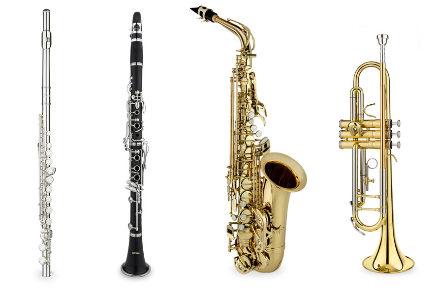 The LJ Hutchen family: flute, clarinet, saxophone, trumpet